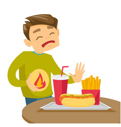sad caucasian white man suffering from heartburn vector image