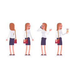 set of female clerk in standing poses rear front vector image vector image