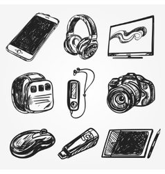 set of smart media devices and personal gadgets vector image