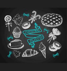 sweets set sketch on chalkboard background vector image