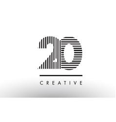 20 black and white lines number logo design vector