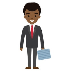 afro american businessman character with case flat vector image