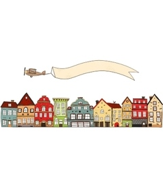 Airplane Over Town Composition vector