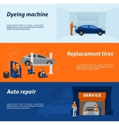 Auto mechanic 3 flat banners set vector