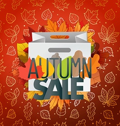 Autumn sale composition with the shopping bag vector