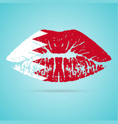 bahrain flag lipstick on the lips isolated on a vector image