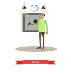 Bank safe flat style vector