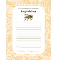 bee garden - hand drawn template card vector image