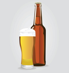 beer bottle with glass vector image