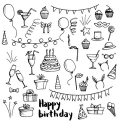 Birthday party doodle set vector