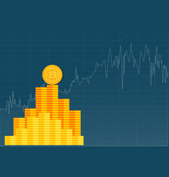 Bitcoin crypto currency stick graph chart of stock vector