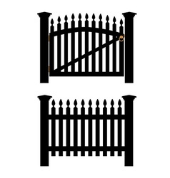 Black fence and gate vector
