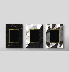 black white marble texture gold frame card set vector image