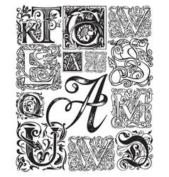 black white set ornate initial letters vector image