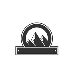 Blank badge form with mountains good vector