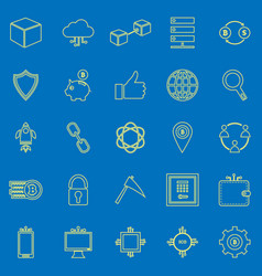 Blockchain line color icons on blue background vector