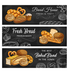 bread and pastry chalkboard sketch banners vector image