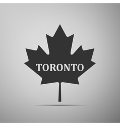 Canadian maple leaf with city name Toronto flat vector