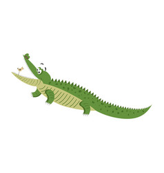 Cartoon crocodile with bird in wide open mouth vector