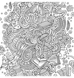 Cartoon doodles Winter season vector