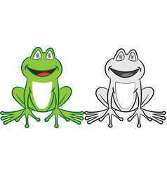 cartoon frog with colorful and black-white vector image