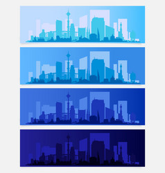 city skyline colored sets districts banners vector image