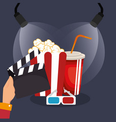 Clapper cinema production icons vector