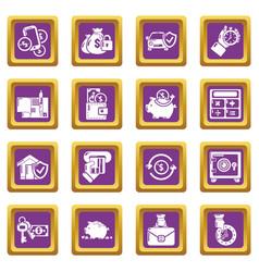 Credit icons set purple square vector