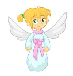 Cute happy christmas girl angel character vector