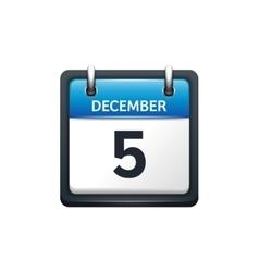 December 5 Calendar icon flat vector