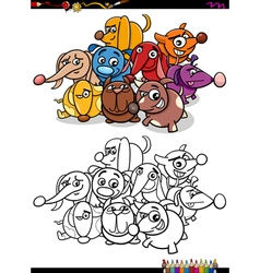 dogs group coloring book vector image