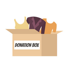Donation box full of clothes for people in need vector