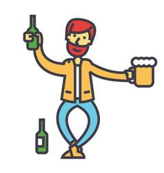 Drunk man alcoholic alcoholism concept line vector
