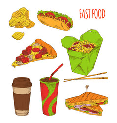 Fast food snack set isolated on white backdrop vector