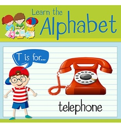 Flashcard letter T is for telephone vector image