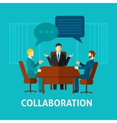 Flat Collaboration Icon vector image vector image