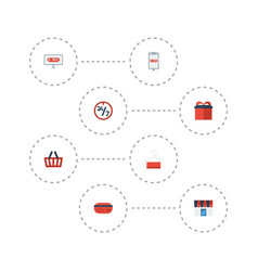 Flat icons bag dress stand shopping vector