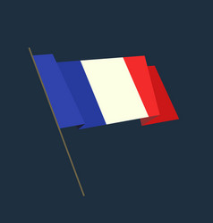 flat style waving france flag vector image
