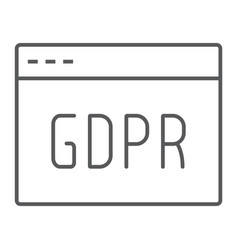 Gdpr site thin line icon webpage and website vector