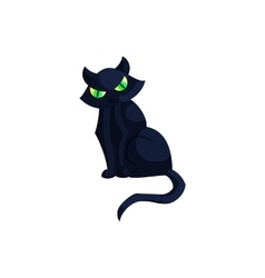 Halloween black cat with green eyes icon vector image