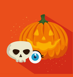 halloween card with pumpkin and skull vector image