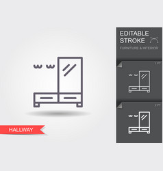 Hallway furniture line icon with editable stroke vector