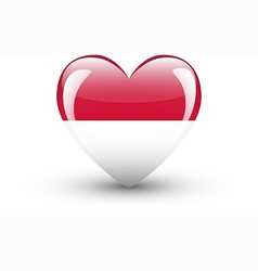 Heart-shaped icon with national flag indonesia vector