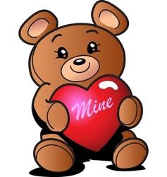 Heart teddy bear vector