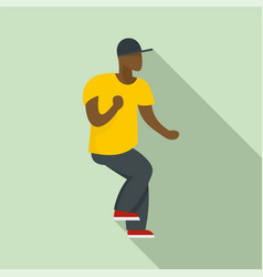 Hip hop dancer icon flat style vector