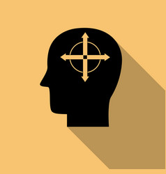 human mind icon solution symbol with long shadow vector image