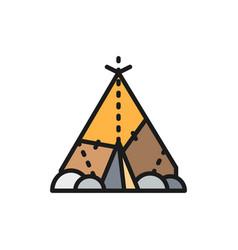 Indian wigwam prehistoric house primitive home vector