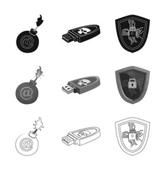 Isolated object of virus and secure icon set of vector