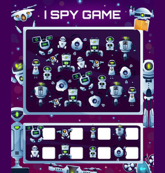Kids education game with robots i spy riddle vector