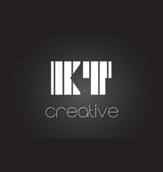 Kt k t letter logo design with white and black vector